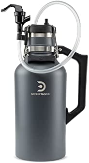 DrinkTanks 64 oz Slate Vacuum Insulated Stainless Steel Growler and Keg Cap Accessory Kit