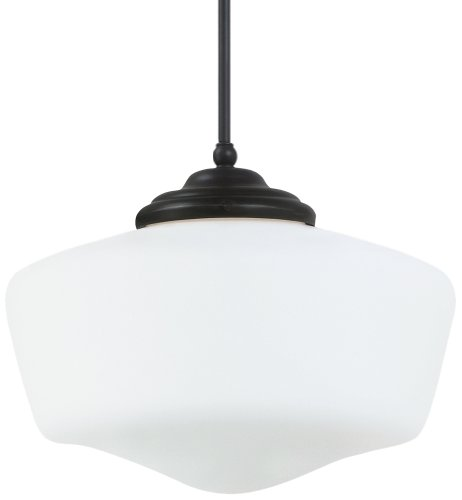Sea Gull Ligthing 65439-782 Academy One-Light Pendant with White Glass Shade, Heirloom Bronze Finish