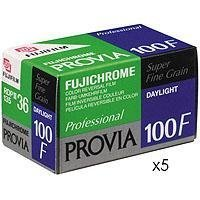 Fujifilm Fujichrome Provia 100F Color Slide Film ISO 100, 35mm, 5 Rolls of 36 Exposures