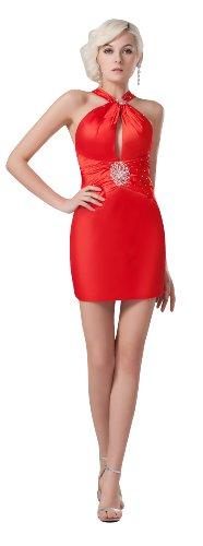 herafa p32823-12 Cocktail Dresses Gorgeous High Neck Sleeveless Delicate Beading mini Sheath Red