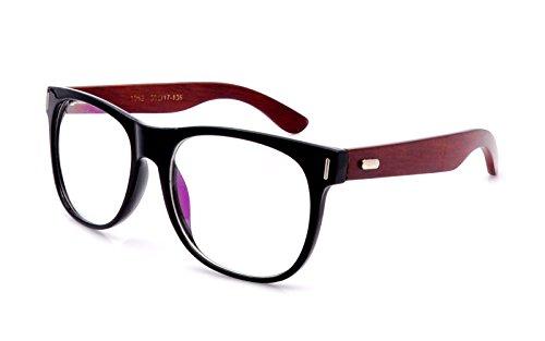 Amillet Men\'s Wooden Vintage Oversized Glasses Frame Clear Lens ...