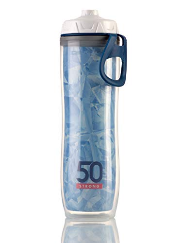 Insulated Water Bottle - 24 oz. Sports Bottle With One-Way Valve - Double Walled Design Keeps Drinks Cold - BPA Free - Lightweight and Perfect for Bike - Leak Proof Cap - Made in USA (Ice Blue)