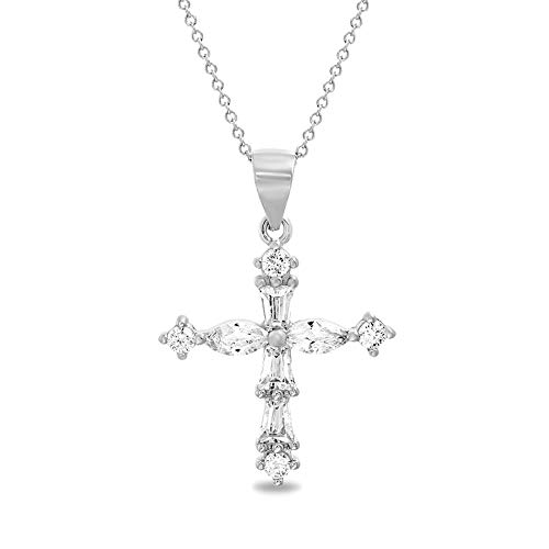 MIA SARINE Round and Fancy Shaped Cubic Zirconia Cross Necklace for Women in Rhodium Plated Sterling Silver