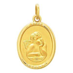 So Chic Bijoux © Pendentif Médaille Ovale Ange Gardien Raphaël Pensif sur Nuage Bords Stylisés Or Jaune 750/000 (18 carats)