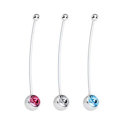 BodyJ4You Pregnant Belly Ring Crystal Set of 3 Flexible Belly (Pregnant Belly)
