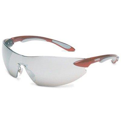 Uvex S4413 Ignite Safety Eyewear, Metallic Red and Silver Frame, Silver Mirror Hardcoat - Repair Usa Eyewear