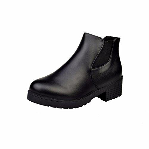 Sonnena Women Leather Low Flat Block Heel Chelsea Ankle Boots Shoes Black vf5SDM