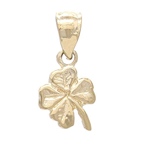 14K Yellow Gold St Patrick's Shamrock Clover Leaf Charm or Pendant (1/2