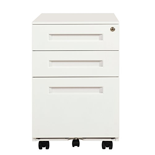DEVAISE 3-Drawer Metal Mobile File Cabinet with Lock Keys, Fully Assembled Except Casters, White by DEVAISE