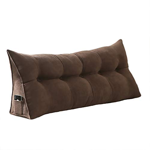 VERCART 100% Polyester Sofa Bed Large Soft Upholstered Headboard Filled Wedge Cushion Bed Backrest Positioning Support Reading Pillow Office Lumbar Pad with Removable Cover Coffee Queen