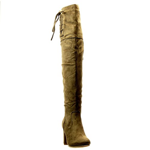 Angkorly - damen Schuhe Oberschenkel-Boot Stiefel - Reitstiefel - Kavalier - Sexy - Flexible - Knoten - Spitze Blockabsatz high heel 8.5 CM - Khaki