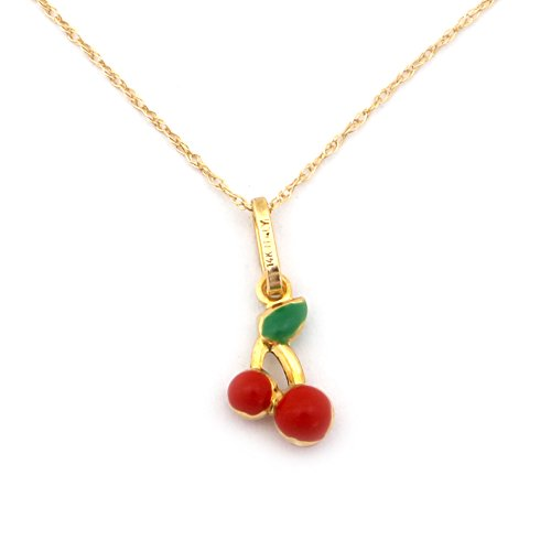 Girl's 14k Yellow Gold Enamel Cherry Pendant Necklace - 18'' by Beauniq