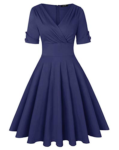 ROOSEY Women's 1950s Vintage Deep V Neck Half Sleeve Retro Cocktail Swing Dress (Large, Navy Blue) (Navy Cocktail Blue)