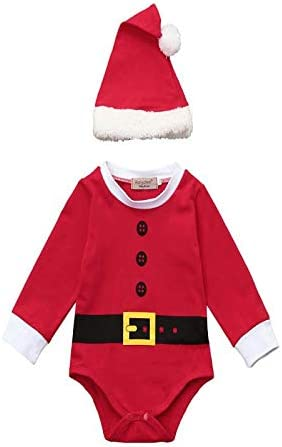 SUDADY - Disfraz de Papá Noel para niños, 2 Piezas + Gorro de ...