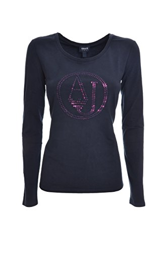ARMANI JEANS T-shirt manica lunga logo ricamato cotone donna,6Y5T46, regular Blu marino