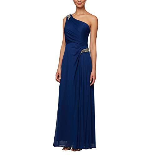 Alex Evenings Women's Long One Shoulder Dress (Petite and Regular), Electric, 8P