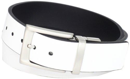 PGA TOUR Men's Fashion Color Reversible Belt, White/Black, 34