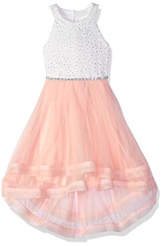 Speechless Big Girls 7-16 Sparkle Waist Party Dress with Defined Hem, Ivory/Blush Pink, 12