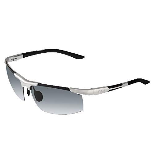 JOJEN Men's Polarized Sports Sunglasses for Men Al-Mg Metal Ultra Light Semi Rimless Frame JE0018 (Silver frame gray lens)