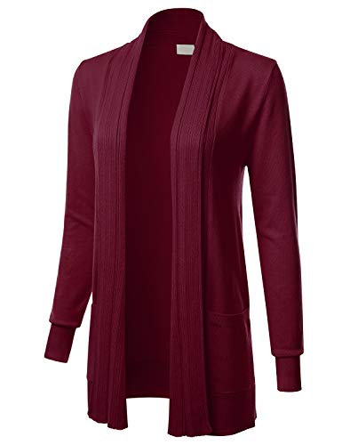 Women's Long Sleeve Open Front Drape Ribbed Cardigan with Pockets Burgundy ()