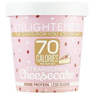 Cheesecake Ice Cream - Enlightened - The Good For You Ice Cream, High Protein-Low Sugar-High Fiber-Low Fat, Strawberry Cheesecake, Pint (8 Count)
