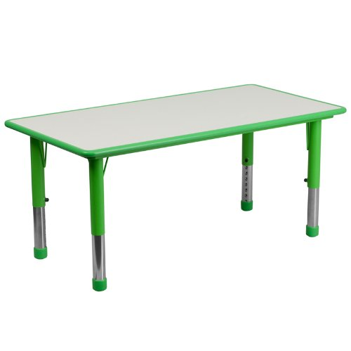 Flash Furniture 23.625''W x 47.25''L Rectangular Green Plastic Height Adjustable Activity Table with Grey Top (Top Furniture)