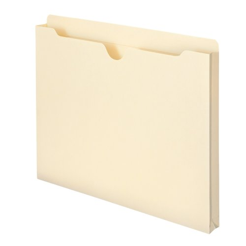 Smead File Jacket, Reinforced Straight-Cut Tab, 1' Expansion, Letter Size, Manila, 50 per Box (75520)