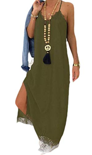 (Abetteric Women Solid Colored Lace Trim Strap Stitching Cut Out Shift Dress Army Green M )