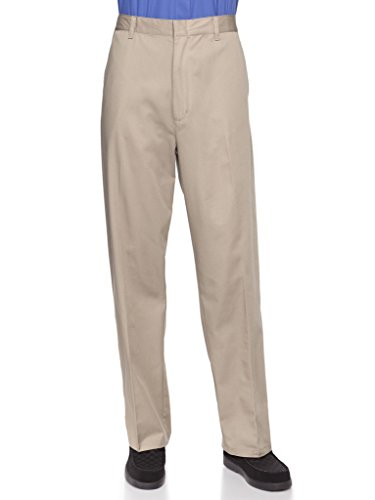 (AKA Half Elastic Wrinkle Free Flat Front Men's Slacks - Relaxed Fit Twill Casual Pant Khaki 32 Short)