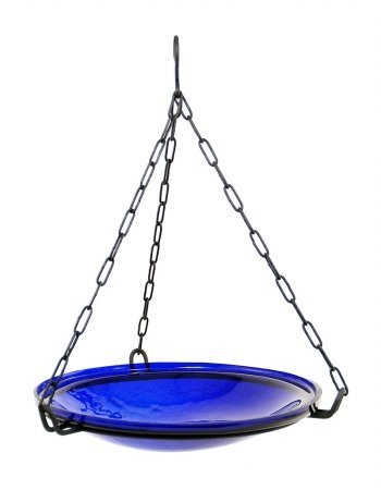 Achla Designs Crackle Glass Hanging Birdbath, 14-in bowl, Cobalt Blue