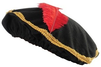 [Red Feather Renaissance Hat with Gold Trim (One)] (Medieval Mens Costumes)