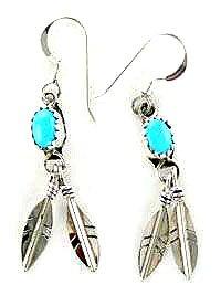 By Navajo Artist: Cornelia Yazhe:Sterling silver earrings