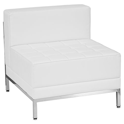 Flash Furniture HERCULES Imagination Series Contemporary Melrose White Leather Middle Chair by Flash Furniture