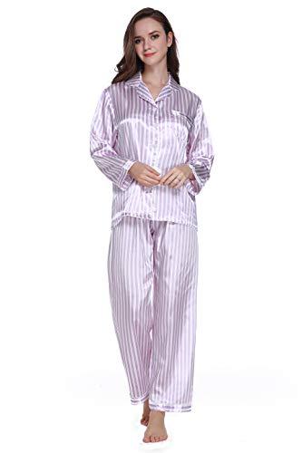 Purple Satin Stripe - Lavenderi Women's Long Sleeve Premium Satin Pajama Set (Medium, Light Purple Stripe)