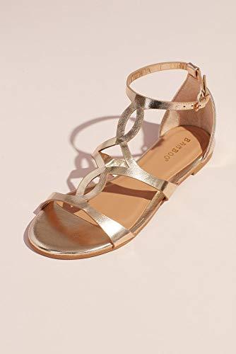 David's Bridal Metallic Flat Sandals with Vamp Cutouts Style SPLENDID36, Gold, 8