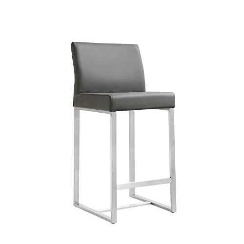 TOV Furniture Denmark Stainless Steel Counter Stool (Set of 2), Grey from Tov Furniture