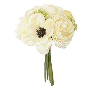 Sweet Home Deco 10'' Blooming Peony and Anemone Silk Artificial Wedding Bridal Bouquet/ Home Flower (No Pot Included) (Cream) 81