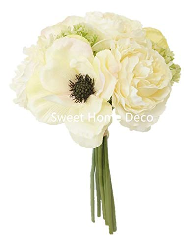 Sweet Home Deco 10'' Blooming Peony and Anemone Silk Artificial Wedding Bridal Bouquet/ Home Flower (No Pot Included) (Cream)