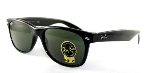 Ray-Ban NEW WAYFARER - BLACK Frame CRYSTAL GREEN Lenses 52mm - Ray Ban Frame Optical