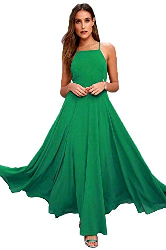 Backless Women Line Evening Gown for Party Dresses Chiffon Changuan Green Prom Bridesmaid Halter Sexy A Onvp0Xzx
