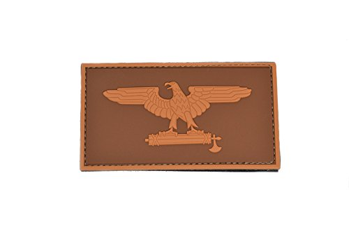 - Roman Eagle PVC WW2 Patch with Hook and Loop design. Coyote Brown and dark brown Color for a retro look.