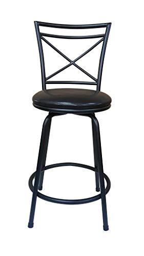 Ciniya Round Seat Counter-to-Bar Height Adjustable 360 Degree Swivel Metal Black/Brown Bar Stool