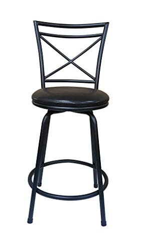 - Ciniya Round Seat Counter-to-Bar Height Adjustable 360 Degree Swivel Metal Black/Brown Bar Stool