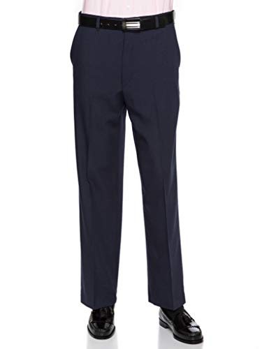 Mens Flat Front Dress Pants - Wool Blend Long Formal Pants for Men, Made in USA Navy 38 ()