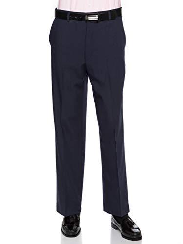 Mens Flat Front Dress Pants - Wool Blend Long Formal Pants for Men, Made in USA Navy 33 Short ()