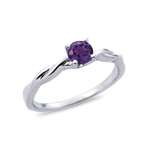 Amethyst Single Stone Ring - Diamond Scotch 0.45 Ct Simulated Amethyst Twisted Solitaire Single Stone Engagement Wedding Ring in 14k White Gold Over