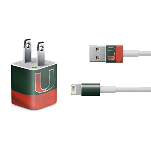 Skinit Miami Hurricanes Flag iPhone Charger (5W USB) Skin - Officially Licensed College Decal Sticker - Ultra Thin, Lightweight Vinyl Decal Protective Wrap (Hurricanes Phone Miami Charger)