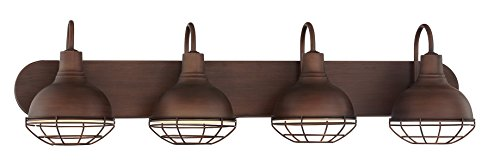 "31nofhGFsyL - Revel Liberty 36"" 4-Light Industrial Vanity/Bathroom Light, Brushed Bronze Finish"