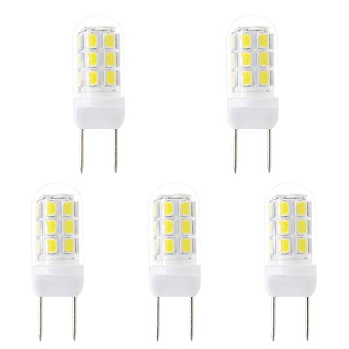 Szulight G8 led Bulb dimmable 35W Halogen Bulbs Replacement, jcd g8 gy8.6 120 Light Bulbs Under Cabinet Lights and Puck Lights, Pack of 5 (Daylight White 6000K)