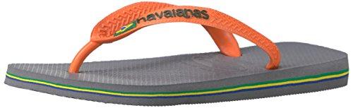 Havaianas Women's Brazil Logo Sandal Flip Flop, Steel Grey/Neon Orange, 37 BR/7/8 W - Havaianas Orange